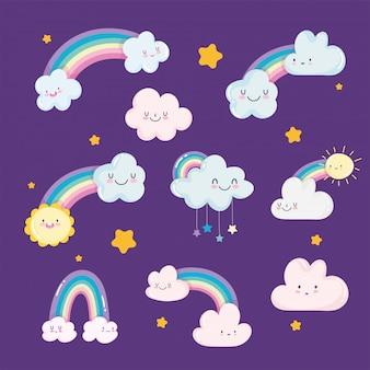 Arcs-en-ciel nuages soleil étoiles ciel rêve dessin animé décoration illustration vectorielle