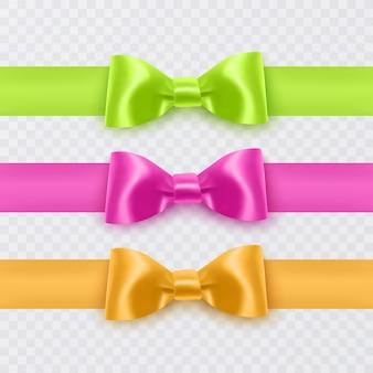 Arcs réalistes de couleurs roses, jaunes et vertes pour la décoration de boîtes de cartes postales, etc.