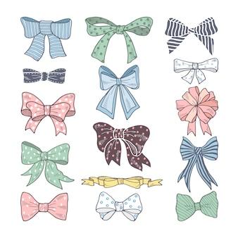 Arcs rétro. kit de beauté d'accessoires femme. rubans illustrations vectorielles isolées