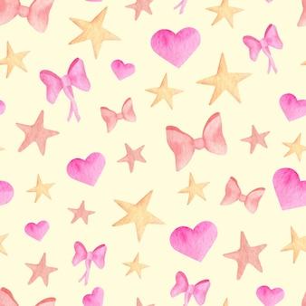 Arcs de ruban rose aquarelle, coeurs et étoiles modèle sans couture. fond simple mignon
