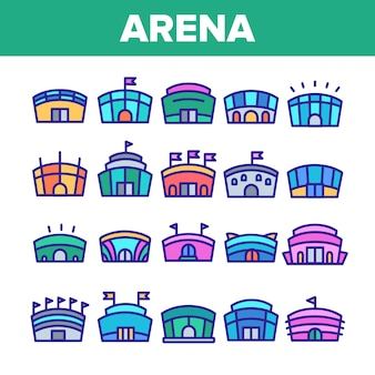 Arena buildings sign icons set