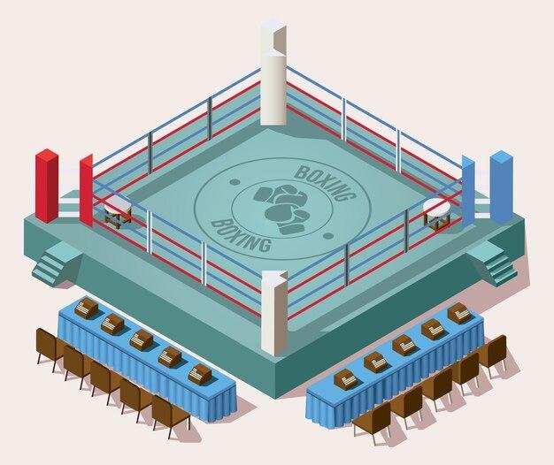 Arène de boxe isométrique vide ring