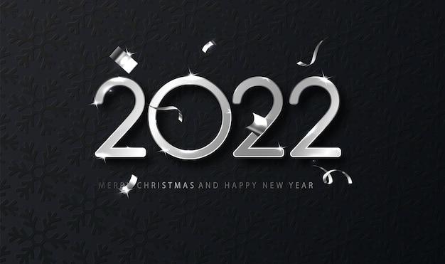 Argent 2022 happy new year avec chute de confettis sur fond sombre. modèle de vacances pour carte de conception, bannière