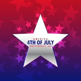 Argent brillant 4ème étoile de juillet fond