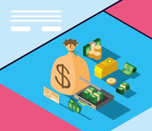 Argent cash monnaie fortune isométrique