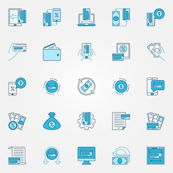 Argent et cashback icônes de concept bleu - vecteur icônes créatives de programme de récompense de remise en argent