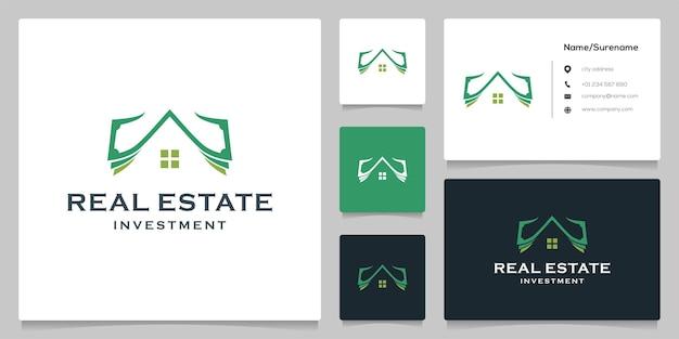 Argent comptant et conception de logo d'immobilier de maison de toit