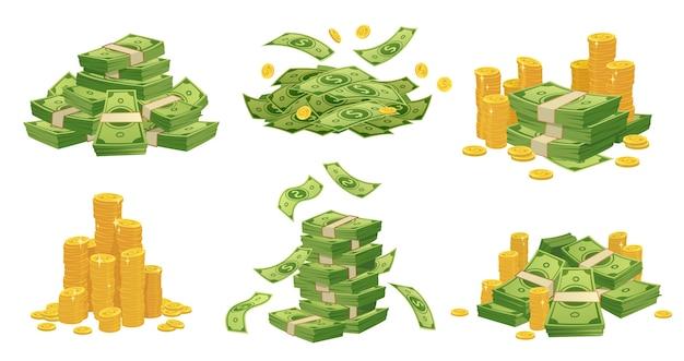 Argent de dessin animé et pièces de monnaie.