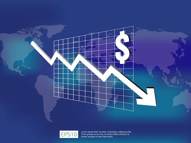 L'argent du dollar tombe avec l'arrière-plan flou