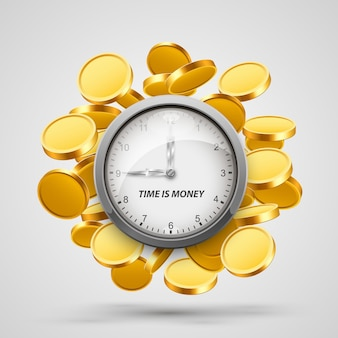 Argent du temps, horloge avec objets pièces. illustration vectorielle