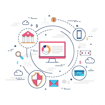 Argent sur internet, transaction de paiement sécurisé, mécanisme de paiement. contexte fintech (technologie financière). illustration de style plat colorée.