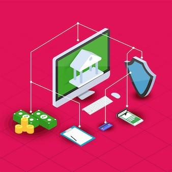 Argent sur internet, transaction de paiement sécurisé, mécanisme de paiement. contexte fintech (technologie financière). style 3d.