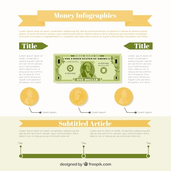 L'argent modèle infographique avec détails vert et brun