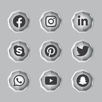 Argent noir et blanc solide bouton de dégradé de médias sociaux 3d brillant serti d'icône ronde du logo de médias sociaux