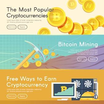 Argent numérique bitcoin, système de crypto-monnaie et pool de minage