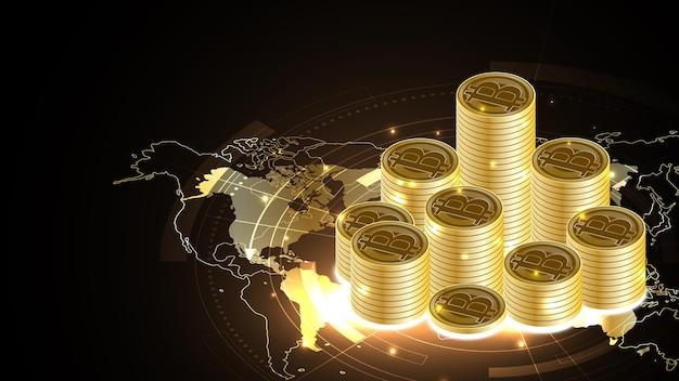 Argent numérique de crypto-monnaie bitcoin avec un tas de pièces de monnaie fond de technologie de réseau