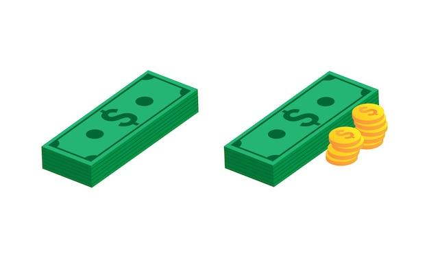 Argent avec pièces de monnaie set vector illustration. eps 10