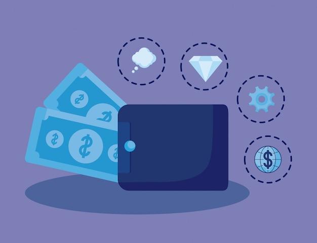 Argent de portefeuille avec finance d'icônes d'économie d'icônes