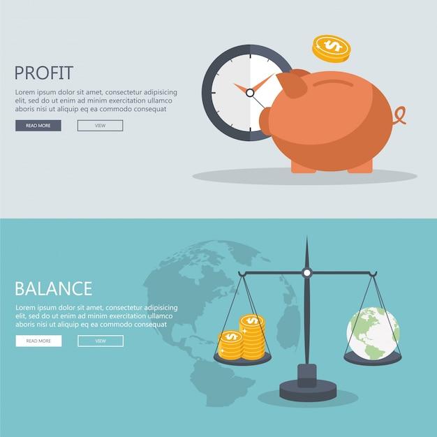 Argent profit et bannières d'équilibre.