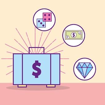 Argent valise dice billet de banque diamant