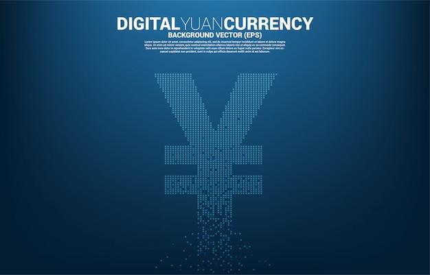 Argent yuan chinois et icône de devise yen japonais de transformation de pixel. concept pour la monnaie numérique yuan chine.