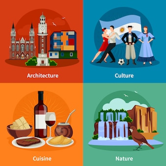 Argentine attractions flat icons square