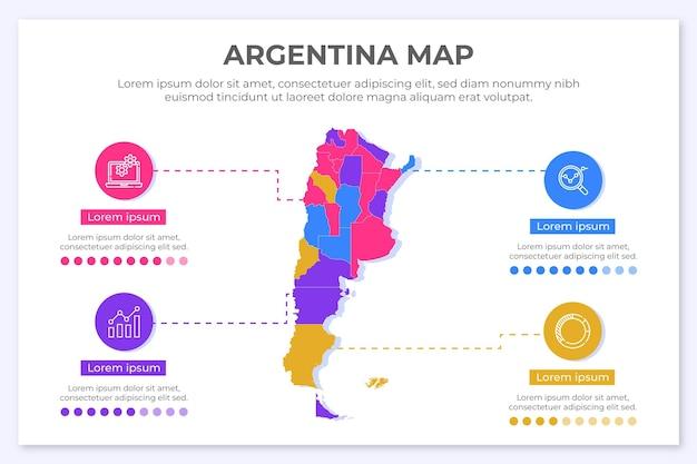 Argentine carte infographique au design plat