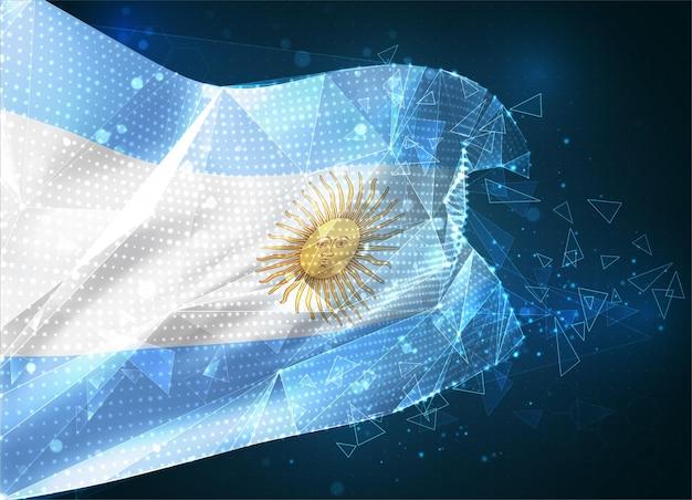 Argentine, drapeau vectoriel, objet 3d abstrait virtuel à partir de polygones triangulaires sur fond bleu