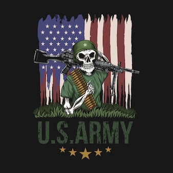 Armée américaine crâne mitrailleuse