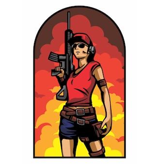 Armée de femme en fond d'explosion
