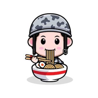 Armée mignonne mangeant le personnage de dessin animé de nouilles ramen