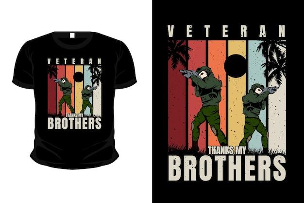 L'armée de vétérans remercie la conception de t-shirt de maquette d'illustration de marchandise de frères