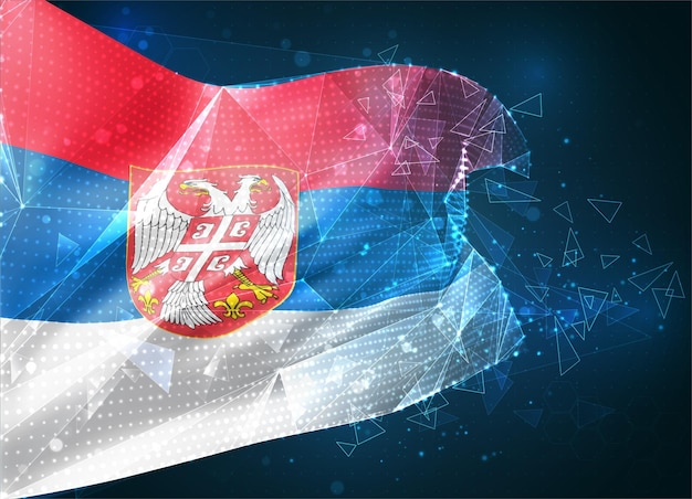 Arménie, drapeau vectoriel, objet 3d abstrait virtuel à partir de polygones triangulaires sur fond bleu
