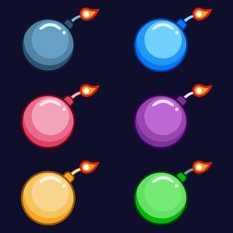 Armes de bombes traditionnelles colorées 2 atout de jeu