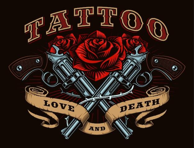 Armes à feu et roses, illustration de tatouage