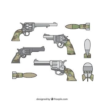 Armes de guerre avec des fusils et des pistolets