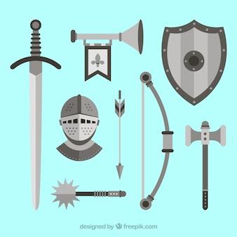 Armes médiévales avec un design plat