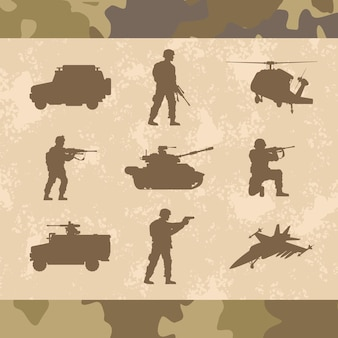 Armes militaires neuf silhouettes