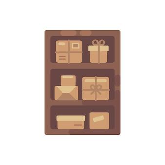 Armoire en bois avec des boîtes marron. vieille illustration plat de stockage de colis