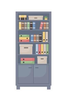 Armoire de bureau avec objets vectoriels de couleur semi-plat de documents