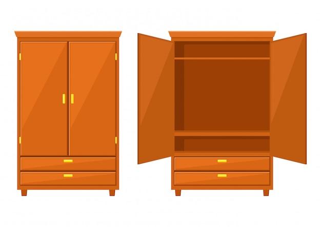 Armoire ouverte et placard isolé sur fond blanc
