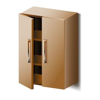 Armoire de vecteur avec étagères. isolé.