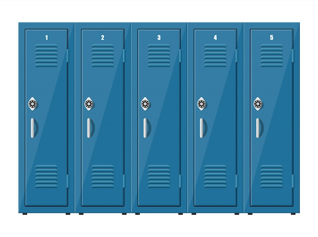Armoires en métal bleu. casiers à l'école ou au gymnase avec poignées et serrures argentées. coffre-fort avec portes, placard, compartiment. illustration dans un style plat