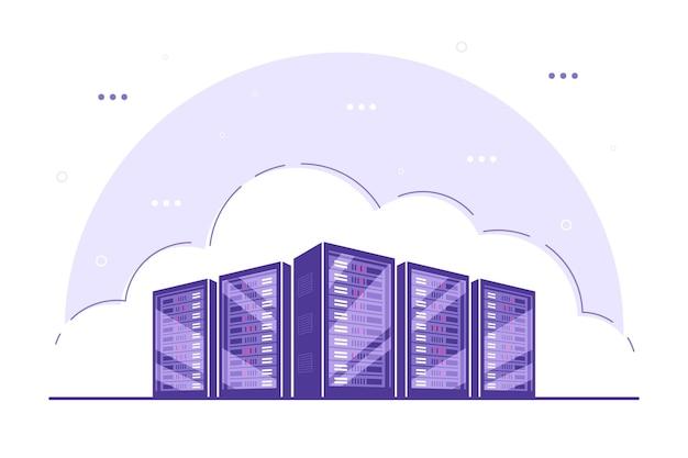 Armoires de serveurs de serveurs fonctionnels. stockage de données, stockage en nuage, concept de centre de données.