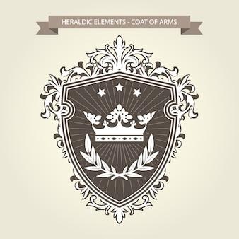 Armoiries - héraldique médiévale, bouclier et couronne