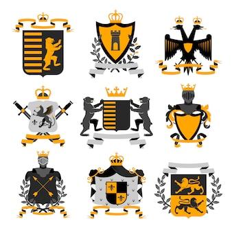 Armoiries héraldiques emblèmes de la famille et des boucliers de la famille