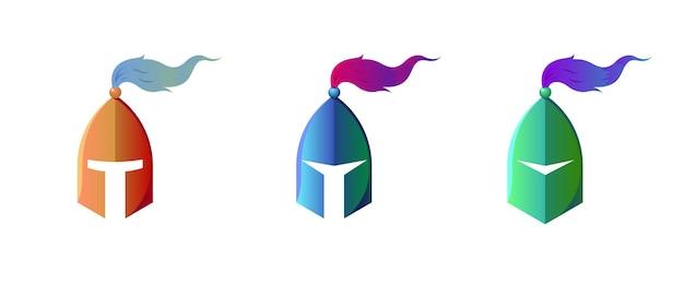 Armure de casque de chevalier médiéval stylisé lettre atm bleu vert or métal symbole signe pour votre