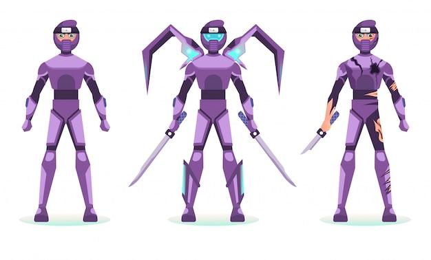 Armure de conception de personnage costume ninja robotique