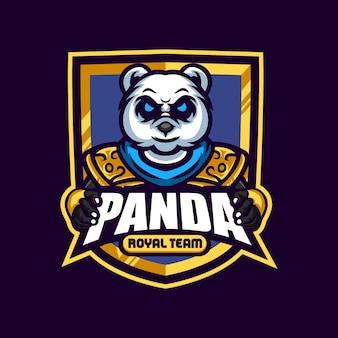 Armure d'or panda mascot logo esport