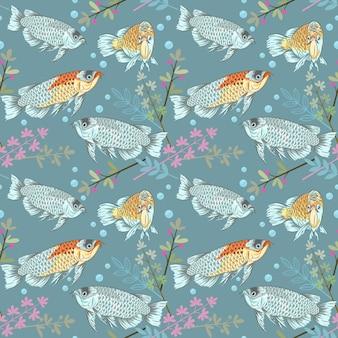Arovana poisson modèle sans couture pour fond de tissu.